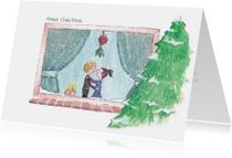 Kerstkaarten - Kerstraam verliefd stel