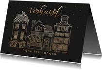 Kerstkaarten - Kerstverhuiskaart huisje met goudlook