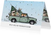 Kerstverhuiskaart Mini pick-up