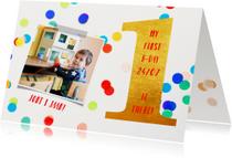 kinderfeestje 1 jaar goud en confetti gekleurd