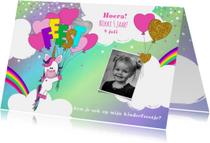 Kinderfeestjes - kinderfeestje schattige unicorn met ballonnen