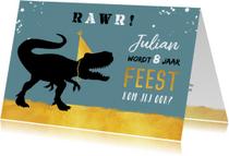 Kinderfeestje stoer met t-rex en hippe goudlook accenten