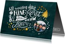 Kerstkaarten - Krijtlettering kerstkaart met foto