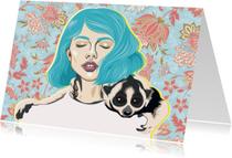Kunstkaarten - Kunstkaart van een vrouw met loris om haar hals