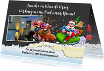 Leuke kerst-verhuiskaart met kerstman in slee en rendieren