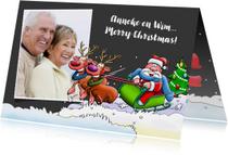 Kerstkaarten - Leuke kerstkaart met kerstman in slee en rendieren