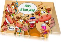 Leuke verjaardagskaart met 4 giraffen en een beer