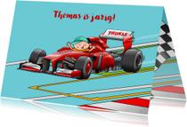 Leuke verjaardagskaart met raceauto Formule 1