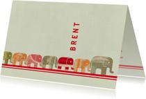 Lief geboortekaartje met een lange rij olifantjes