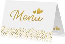 Liggende menukaart voor een huwelijk met gouden stippen