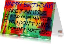 Verjaardagskaarten - Mark Twain age is an issue