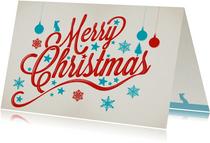 Kerstkaarten - Merry Christmas in lichtblauw en donkerrood