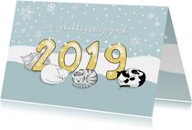 Nieuwjaar - 2019 met vier katten