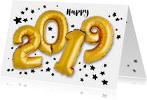 Nieuwjaarskaart 2019 ballonnen goud met sterren