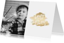 Nieuwjaarskaarten - Nieuwjaarskaart 'Best Wishes' goudlook met foto