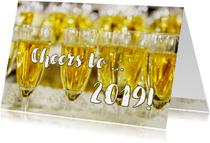Nieuwjaarskaart Champagne Cheers to 2019