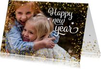 Nieuwjaarskaart happy new year foto