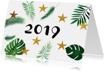 Nieuwjaarskaart leaves  met planten en gouden sterren