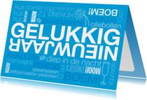 Nieuwjaarskaart tekst op blauwe achtergrond