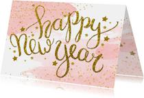 Nieuwjaarskaart zakelijk tekst aquarel glitter