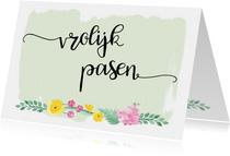 Paaskaart pastelbloemen