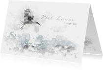 Rouwkaart vogel boven landschap in waterverf
