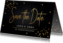 Trouwkaarten - Save the Date kaart gouden confetti