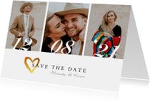 Save the date trouwkaart stijlvol goud met eigen foto's