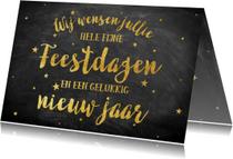 Stijlvolle goudlook kerstkaart met typografie en sterretjes