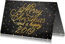 Stijlvolle kerstkaart met goudlook typografie en sneeuw