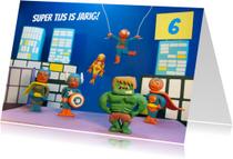 Verjaardagskaarten - superhelden verjaardag kaart 3-d