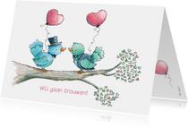 Trouwkaarten - Trouwkaart bruidegommen vogeltjes