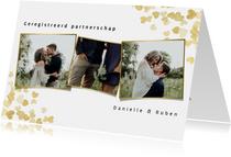 Trouwkaart geregistreerd partnerschap gouden hartjes foto's