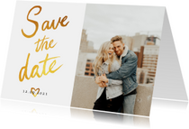 Trouwkaart Save the date fotocollage met goud