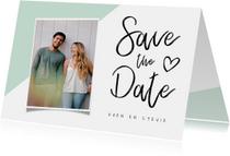 Trouwkaart save the date modern met foto