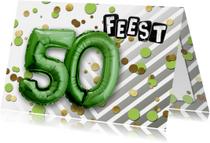 Uitnodigingen - Uitnodiging 50 ballon groen