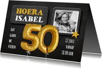 Uitnodigingen - Uitnodiging 50 jaar Ballon goud