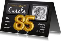 Uitnodigingen - Uitnodiging 85 jaar ballonnen goud