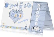 uitnodiging babyshower jongen hart