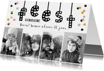 Uitnodigingen - Uitnodiging feest verjaardag man vrouw confetti