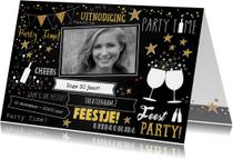 Uitnodiging feestelijke typografische foto kaart