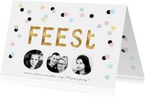 Uitnodiging fotocollage verjaardag feest confetti