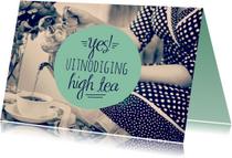 Uitnodiging high tea retro