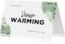Uitnodiging housewarming hip met waterverf en spetters