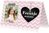 Uitnodiging kinderfeestje meisje roze hartje