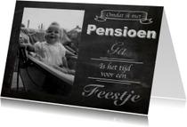 Uitnodiging pensioen krijtbord