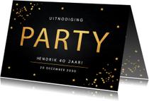 Uitnodigingen - Uitnodiging verjaardag goud confetti typografie
