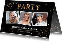 Uitnodigingen - Uitnodiging verjaardag samen fotocollage goud confetti