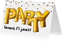 Uitnodiging verjaardagsfeest samen jarig Party goud confetti