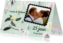 Jubileumkaarten - Uitnodiging voor jubileumfeest met vogels en rozen
